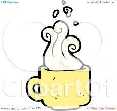 cartoon of a yellow coffee mug with steam 2 royalty free vector