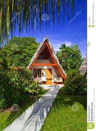 bungalow in hotel at tropical beach seychelles stock images