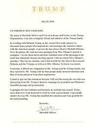 Heartfelt Letters Of Resignation Melania Trump Copied From Michelle Obama U0027s 2008 Convention Speech
