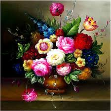 needlework diy peony flower vase cross stitch oil painting silk cross stitching for embroidery