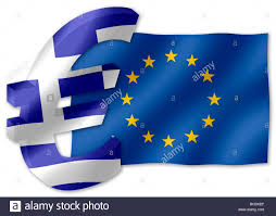 Greek Flag Background Euro Currency Symbol In 3d With Greek National Flag Inset Into