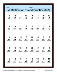 timed multiplication worksheets 0 u2013 2 printable practice sheets