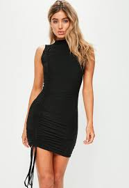 sleeveless dress black high neck sleeveless ruched side detail dress missguided