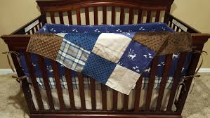 Minky Crib Bedding Baby Boy Crib Bedding Navy Plaid Brushed Brown