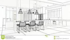 architect plan impressive kitchen stock illustration image 69513306