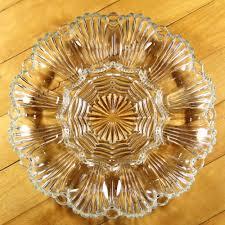 glass deviled egg platter vintage american pressed glass deviled egg platter plate wave fan