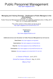 managing and valuing diversity challenges to public managers in