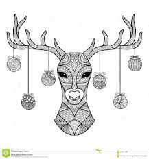 hand drawn deer head with christmas balls hanging on its horn for
