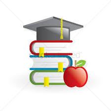 graduation books school books apple and graduation hat vector image 1411349
