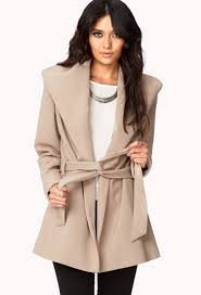 forever 21 contemporary belted broad collar coat in natural lyst