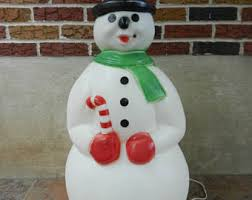 Lighted Snowman Outdoor Christmas Decorations by Vintage Outdoor Christmas Decorations Etsy