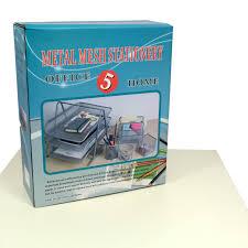 Wire Desk Organizer by 5 Piece Office Stationery Set Metal Wire Mesh Document Tray Tier