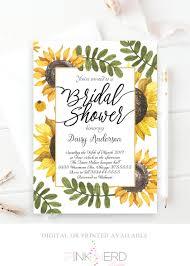 bridal shower invitations brunch sunflower bridal shower invitation watercolor flower invitation