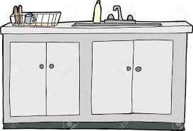 Isolated Hand Drawn Kitchen Sink With Drying Rack Royalty Free - Kitchen sink with drying rack