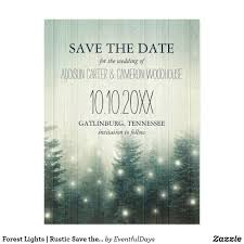 forest lights rustic save the date postcard