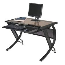 Metal And Glass Computer Desks Black Metal Sepia Glass Computer Desk With Keyboard Tray Free