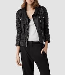 biker jacket women allsaints steine leather biker jacket in black lyst