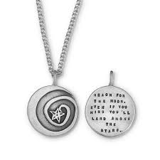 inspirational necklaces reach for the moon necklace quote jewelry kathy bransfield