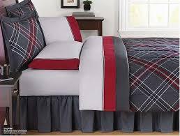 Girls Twin Bed In A Bag Amazon Com Gray U0026 Red Plaid Teen Girls Twin Comforter Set 6