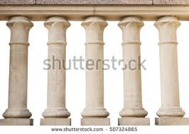 Stone Banister Stone Railings Isolated On White Background Stock Photo 572202490