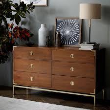 Dressers For Bedroom Malone Caign 6 Drawer Dresser Walnut West Elm