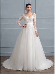 ball gown v neck court train tulle lace wedding dress with sequins