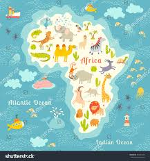 World Continent Map Animals World Map Africa Beautiful Colorful Stock Illustration