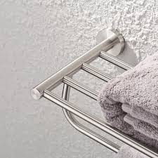 bathroom double towel rack and shelf 23 inch wall mounted brushed