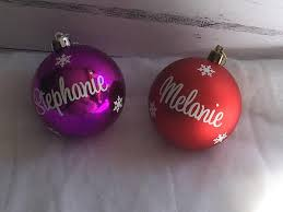 personalised cursive 8cm baubles ornaments in gift box