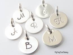 Personalized Initial Jewelry Silver Initial Charm Hand Stamped Charm Monogram Charm