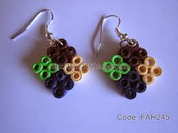 handmade paper earrings fah creations handmade jewelry four square quilling earrings