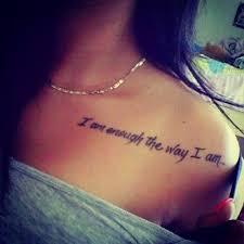 27 shoulder quotes tattoos