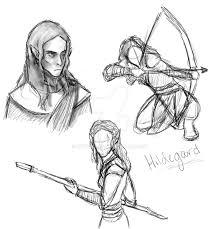wood elf sketches by kitkatm95 on deviantart