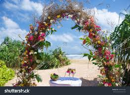 wedding arches made of branches ceremony wedding arch on tropical stock photo 594241430