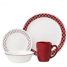 corelle 16 crimson trellis livingware dinnerware