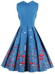 vintage dresses blue 4xl cartoon print sweetheart neck pin up