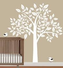 White Tree Wall Decal For Nursery Nursery Wall Decal Tree With Birds Childrens Wall Decal Wall
