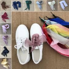 ribbon shoe laces 4cm candy colors flat silk ribbon shoelaces shoe laces for sneaker
