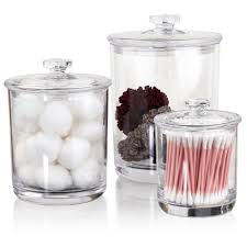 Glass Bathroom Storage Jars Premium Quality Clear Plastic Apothecary Jars Set Of