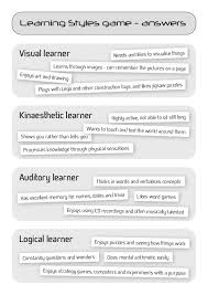 learning styles activity with answers