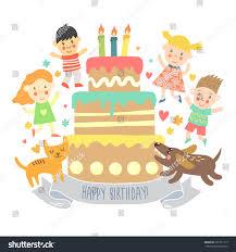 happy birthday greeting card kids cat stock vector 301521119