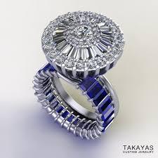 Diamond Wedding Ring Sets by Baguette Sapphire And Diamond Wedding Ring Set U2014 Takayas Custom