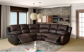 Corner Recliner Sofas Cambridge Brown Leather Corner Manual Recliner Sofa High Quality