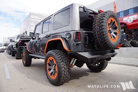 orange jeep wrangler 2016 sema fab four granite orange jeep jk wrangler unlimited