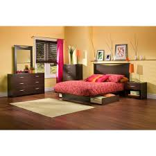 Platform Bedroom Sets With Storage South Shore Step One Chocolate Queen Storage Bed 3159217 The