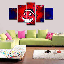 5 panels cleveland indians modern home wall decor painting canvas