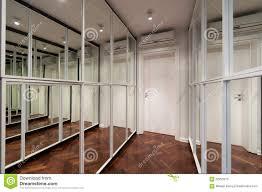 modern corridor interior with mirror wardrobe doors stock photo