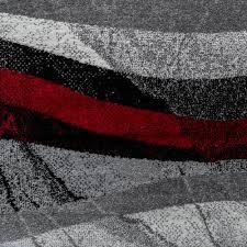 Wohnzimmer Schwarz Grau Rot Designer Teppich Modern Kurzflor Wellen Optik Abstrakt Grau