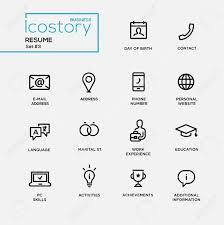Plain Text Resumes Set Of Modern Vector Plain Simple Thin Line Design Icons And