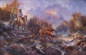 painting of a cowboy on horseback rounding up a stray calf by stefan baumann this